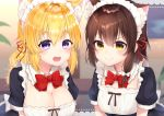 2girls :d animal_ear_fluff animal_ears bangs black_dress blonde_hair blush bow bowtie breasts brown_eyes brown_hair cat_ears cleavage closed_mouth commentary_request detached_collar dress eyebrows_visible_through_hair gyozanuko hair_between_eyes hair_ribbon highres lace_border large_breasts long_hair maribel_hearn multiple_girls open_mouth puffy_short_sleeves puffy_sleeves red_neckwear red_ribbon ribbon short_sleeves small_breasts smile touhou upper_teeth usami_renko violet_eyes white_bow white_collar wing_collar