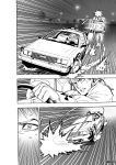 1boy 2others absurdres back_to_the_future car clenched_teeth comic delorean driving emphasis_lines firing ground_vehicle highres lamppost marty_mcfly monochrome motor_vehicle multiple_others murata_yuusuke speed_lines steering_wheel sweat teeth tree van