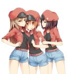 3girls aa-5100 ae-3803 arashiya belt black_shirt hat hataraku_saibou highres jacket multiple_girls nt-4201 pout red_blood_cell_(hataraku_saibou) red_jacket redhead shirt smile