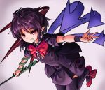 1girl absurdres asymmetrical_wings black_dress black_hair black_legwear bow center_frills dress eyebrows_visible_through_hair grin highres houjuu_nue nob1109 pointy_ears red_bow red_eyes red_footwear red_neckwear shoes short_hair short_sleeves smile snake solo teeth thigh-highs touhou v-shaped_eyebrows wings wristband zettai_ryouiki