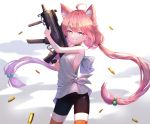 1girl absurdres ahoge animal_ears black_legwear blue_eyes blush cat_ears eyebrows_visible_through_hair gun hair_bobbles hair_ornament highres hinata_channel holding holding_gun holding_weapon long_hair looking_at_viewer nekomiya_hinata oso_5425 pantyhose parted_lips pink_hair shell_casing smile solo star star-shaped_pupils symbol-shaped_pupils teeth twintails very_long_hair weapon