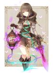 1girl boots brown_hair brown_skirt bug butterfly capelet cropped_legs eyebrows_visible_through_hair green_eyes gretel_(sinoalice) grey_leotard grey_shirt highres holding holding_sword holding_weapon insect kina_(446964) knee_boots leotard looking_at_viewer shiny shiny_hair shirt short_hair sinoalice skirt smile solo standing suspender_skirt suspenders sword weapon white_background