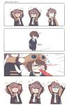 4girls 4koma ags-30_(girls_frontline) ant arms_up blood boca brown_hair bug chibi closed_eyes comic girls_frontline glasses highres insect military military_uniform multiple_girls necktie open_mouth sar-21_(girls_frontline) sitting thigh-highs uniform