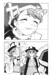 3girls bow bowtie cape cellphone comic doremy_sweet fedora glasses greyscale hat highres kishin_sagume minato_hitori monochrome multiple_girls nightcap nightgown phone pom_pom_(clothes) school_uniform short_hair sign single_wing skirt smartphone suit_jacket touhou translation_request twintails usami_sumireko wings