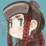 1girl blue_background braid brown_hair brown_hat closed_mouth commentary_request copy_x ebimomo fang fang_out green_eyes hat lowres portrait quad_tails simple_background solo