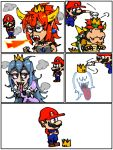 2boys boo bowser bowsette breathing_fire collar comic fire highres horns luigi's_mansion male_focus mario mario_(series) multiple_boys new_super_mario_bros._u_deluxe nintendo princess_king_boo short_sleeves silent_comic spiked_collar spikes super_crown thinking transformation
