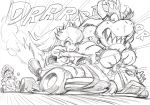 bowser bracelet commentary_request crown dress driving elbow_gloves flat_cap gloves go_kart graphite_(medium) greyscale hair_between_eyes hat highres horns jewelry long_hair mario mario_kart monochrome murata_yuusuke onomatopoeia open_mouth pinky_out ponytail princess_peach puffy_short_sleeves puffy_sleeves sharp_teeth short_sleeves simple_background sketch smile speed_lines spiked_armlet spiked_bracelet spiked_shell spikes sweat teeth traditional_media v-shaped_eyebrows white_background