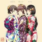 3girls bangs bob_cut bow braid brown_hair closed_mouth commentary_request finger_to_mouth floral_print grey_background hair_bow hand_up index_finger_raised japanese_clothes kimono multicolored multicolored_clothes multicolored_kimono multiple_girls munakata_(hisahige) obi original ponytail purple_kimono red_kimono sash short_hair shushing simple_background smile three_monkeys translated yellow_bow