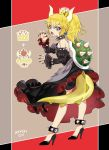 1girl artist_name bare_shoulders black_dress blonde_hair blue_eyes bowser bowsette bracelet claw_pose collar commentary_request detached_sleeves dress earrings eyebrows_visible_through_hair fingernails from_behind high_heels highres horns jewelry juliet_sleeves long_sleeves looking_at_viewer mario_(series) nail_polish new_super_mario_bros._u_deluxe nintendo ponytail puffy_sleeves puzzle157xxx sharp_fingernails sharp_teeth solo spiked_anklet spiked_bracelet spiked_collar spiked_shell spiked_tail spikes strapless strapless_dress super_crown teeth thick_eyebrows