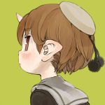 1girl black_shirt blush brown_eyes brown_hair closed_mouth commentary_request ebimomo eyebrows_visible_through_hair from_behind grey_sailor_collar hat horn looking_at_viewer looking_back lowres original pointy_ears pom_pom_(clothes) portrait sailor_collar sailor_hat school_uniform serafuku shirt short_hair simple_background solo yellow_background