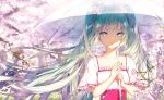 1girl alternate_costume aqua_hair bangs blue_eyes blush casual cherry_blossoms closed_mouth collarbone commentary_request corset day floating_hair flower frilled_sleeves frills hair_ribbon hatsune_miku holding holding_umbrella kinokohime long_hair looking_at_viewer outdoors petals pink_flower pink_lips pink_ribbon ribbon shiny shiny_hair shirt short_sleeves smile solo sunlight transparent transparent_umbrella tree twintails umbrella upper_body very_long_hair vocaloid white_shirt wind