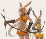 animal_ears armpits arrow bad_id bare_shoulders bow_(weapon) bracer bunny_ears dark_skin elbow_pads final_fantasy final_fantasy_tactics_a2 final_fantasy_tactics_advance grey_eyes hairband headband kno kno_(anahita) long_hair midriff multiple_girls navel quiver rabbit_ears silver_hair skirt strap straps very_long_hair viera weapon wristband