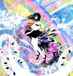 1girl abstract colorful glasses instrument kazaana original piano rainbow school_uniform solo