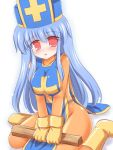 breast_squeeze breasts dragon_quest dragon_quest_iii hat large_breasts latex long_hair mitre priest_(dq3) ry tabard