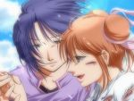brown_hair double_bun double_buns fushigi_yuugi hand_holding holding_hands lowres profile purple_hair tamahome yuuki_miaka