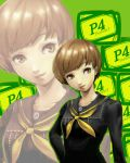 brown_hair flat_chest persona persona_4 satonaka_chie school_uniform short_hair smile solo y-chan zoom_layer