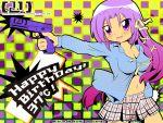 birthday breasts cleavage glock gun handgun happy_birthday hiiragi_kagami kurugaya_yuiko little_busters little_busters! long_hair lucky_star mizuna_nazumi pistol purple_eyes purple_hair semiautomatic skirt violet_eyes weapon