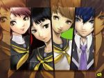amagi_yukiko androgynous black_eyes black_hair blue_eyes blue_hair brown_eyes brown_hair column_lineup jpeg_artifacts kujikawa_rise multiple_girls necktie persona persona_4 purple_hair reverse_trap satonaka_chie school_uniform shirogane_naoto smile y-chan zoom_layer