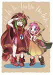 2girls bow bracelet chiki cloak dress fa facial_mark fire_emblem fire_emblem:_fuuin_no_tsurugi fire_emblem:_monshou_no_nazo fire_emblem_heroes forehead_mark green_eyes green_hair highres hood hood_up hoshigaki_(hsa16g) jewelry long_sleeves mamkute multiple_girls nintendo open_mouth pink_dress purple_hair short_dress simple_background standing stone tiara