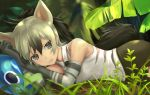 1girl aardwolf_(kemono_friends) aardwolf_ears aardwolf_tail animal_ears bare_shoulders black_hair black_shorts cerulean_(kemono_friends) collared_shirt commentary_request dappled_sunlight day elbow_gloves extra_ears eyebrows_visible_through_hair gloves gradient_hair grey_eyes grey_hair hair_between_eyes hands_up head_rest kemono_friends light_smile long_hair looking_at_viewer lying multicolored_hair necktie on_side one-eyed outdoors parted_lips ponytail shirt shorts sleeveless sleeveless_shirt solo_focus sunlight tail tamamushi two-tone_hair upper_body wing_collar