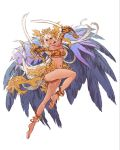 1girl anklet armor bangle bare_shoulders barefoot bikini_top bracelet breasts cape cleavage crossed_arms dual_wielding eyeshadow feathers hair_ornament headpiece highres holding jewelry large_breasts leg_up lips long_hair makeup minaba_hideo navel necklace official_art pink_eyes saber_(weapon) sheena_(terra_battle) solo sword terra_battle transparent_background under_boob very_long_hair warrior weapon white_hair x_arms