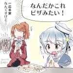 1koma 3girls :d aquila_(kantai_collection) blue_hair blue_sailor_collar brown_hair collared_shirt comic commentary_request dixie_cup_hat double_bun eyebrows_visible_through_hair fang food glasses green_ribbon hat high_ponytail holding holding_food kantai_collection long_hair military_hat multiple_girls neck_ribbon open_mouth orange_hair pizza ribbon roma_(kantai_collection) sailor_collar samuel_b._roberts_(kantai_collection) school_uniform serafuku shirt short_hair smile tora_to_mentaiko translation_request wavy_hair white_hat white_shirt yellow_eyes