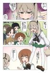 6+girls :d :o alternate_costume alternate_legwear bangs black_eyes black_hair black_neckwear black_ribbon blouse blush boko_(girls_und_panzer) broken_eyewear brown_eyes brown_footwear brown_hair cake closed_eyes closed_mouth comic commentary eyebrows_visible_through_hair flying_sweatdrops food frown girls_und_panzer glasses green_skirt hair_ribbon holding holding_plate holding_stuffed_animal leaning_forward light_brown_hair loafers long_hair long_sleeves looking_at_another looking_at_viewer looking_to_the_side maruyama_saki miniskirt multiple_girls neckerchief nishizumi_miho ooarai_school_uniform oono_aya open_mouth outside_border pantyhose parted_bangs plate pleated_skirt pout ribbon round_eyewear sakaguchi_karina sawa_azusa school_uniform serafuku shimada_arisu shoes short_hair shouting side_ponytail skirt sleeves_past_wrists smile standing stuffed_animal stuffed_toy teddy_bear twintails utsugi_yuuki v-shaped_eyebrows wata_do_chinkuru white_blouse white_legwear