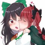 ! 2girls bangs black_bow black_hair blush bow braid breasts closed_eyes commentary_request dress esatongi eyebrows_visible_through_hair frilled_shirt_collar frills green_bow green_dress hair_between_eyes hair_bow heart juliet_sleeves kaenbyou_rin long_hair long_sleeves looking_at_another medium_breasts multiple_girls one_eye_closed open_mouth puffy_short_sleeves puffy_sleeves red_eyes redhead reiuji_utsuho shirt short_sleeves simple_background touhou upper_body v-shaped_eyebrows white_background white_shirt yuri
