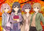 4girls ahoge akebono_(kantai_collection) alternate_hairstyle autumn bag bell black_hair black_skirt breasts brown_eyes brown_hair brown_jacket brown_shirt eyebrows_visible_through_hair flower food green_jacket hair_bell hair_bobbles hair_flower hair_ornament highres holding holding_bag jacket kantai_collection large_breasts long_hair looking_at_viewer multiple_girls nakura_haru oboro_(kantai_collection) pink_eyes pink_hair purple_jacket purple_skirt sazanami_(kantai_collection) shirt short_hair side_ponytail skirt smile sweet_potato twintails ushio_(kantai_collection) violet_eyes