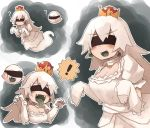 ! 1girl blindfold boo breasts cleavage commentary_request dress earrings elbow_gloves fangs ghost ghost_tail gloves green_tongue highres jewelry kaginoni long_hair mario_(series) multiple_views new_super_mario_bros._u_deluxe nintendo open_mouth princess_king_boo question_mark spoken_exclamation_mark super_crown tongue tongue_out white_dress white_hair