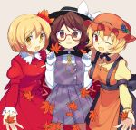 3girls :d ;d aki_minoriko aki_shizuha apron autumn_leaves beige_background black_skirt blonde_hair blush bolo_tie bow breasts brown_eyes brown_hair cape choker cowboy_shot eyebrows_visible_through_hair fedora food fruit glasses gloves grapes hair_ornament hat hat_bow highres holding holding_leaf juliet_sleeves leaf leaf_hair_ornament long_sleeves looking_at_viewer maple_leaf medium_breasts mob_cap multiple_girls one_eye_closed open_mouth orange_apron orange_eyes orange_hat outstretched_arm plaid plaid_skirt plaid_vest pleated_skirt puffy_sleeves purple_skirt purple_vest red-framed_eyewear red_eyes red_shirt red_skirt ribbon_choker sakaki_(utigi) semi-rimless_eyewear shirt short_hair siblings simple_background sisters skirt skirt_set smile sweatdrop touhou under-rim_eyewear usami_sumireko vest wavy_mouth white_bow white_gloves yellow_shirt