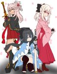3girls arm_guards atsumisu bangs black_bow black_hair black_jacket black_legwear black_scarf blonde_hair blue_eyes boots bow brown_footwear chloe_von_einzbern closed_mouth commentary_request cosplay dark_skin dress eyebrows_visible_through_hair fate/grand_order fate/kaleid_liner_prisma_illya fate_(series) gradient gradient_background grey_background hair_between_eyes hair_bow hair_ornament hairclip hakama hand_up haori head_tilt high_heel_boots high_heels holding holding_sheath holding_sword holding_weapon illyasviel_von_einzbern jacket japanese_clothes katana kimono koha-ace long_hair long_sleeves looking_at_viewer miyu_edelfelt multiple_girls obi okita_souji_(alter)_(fate) okita_souji_(alter)_(fate)_(cosplay) okita_souji_(fate) okita_souji_(fate)_(all) okita_souji_(fate)_(cosplay) open_clothes open_jacket orange_eyes petals pink_hair pink_kimono pleated_dress ponytail red_dress red_eyes red_hakama sash scarf sheath sheathed short_kimono sidelocks smile squatting standing stirrup_legwear sword tassel thigh-highs toeless_legwear weapon white_background white_kimono wide_sleeves x_hair_ornament