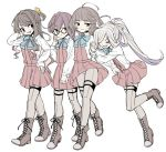 4girls ahoge arm_hug asashimo_(kantai_collection) bangs black_hair blunt_bangs boots bow bowtie brown_eyes brown_hair closed_eyes commentary_request cross-laced_footwear dress full_body glasses grey_eyes grey_legwear grin hair_over_one_eye halterneck hand_holding kantai_collection kishinami_(kantai_collection) lace-up_boots long_hair long_sleeves monaka_ooji multicolored_hair multiple_girls muted_color naganami_(kantai_collection) okinami_(kantai_collection) pantyhose pink_hair pleated_dress ponytail purple_dress school_uniform seamed_legwear sharp_teeth shirt short_hair side-seamed_legwear silver_hair simple_background smile teeth two-tone_hair wavy_hair white_background white_shirt