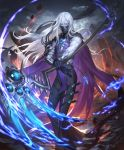 1boy artist_request blue_fire cape cygames fire gauntlets gloves half-closed_eyes holding holding_weapon jewelry long_hair looking_at_viewer mask mountain official_art pale_skin pendant rulenye_omen_of_silence scythe shadowverse tabard weapon white_hair