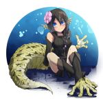 1girl bare_shoulders black_hair blue_eyes blush borrowed_character braid commentary_request detached_sleeves flower full_body hair_between_eyes hair_flower hair_ornament head_fins large_tail legs_crossed lizard_girl long_hair looking_at_viewer monster_girl nanostar original paws simple_background sitting smile solo tail tunic v-shaped_eyebrows white_background