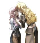 2girls ahoge backlighting blonde_hair brown_eyes brown_hair commentary english_commentary face-to-face hand_holding heterochromia jewelry kiss long_hair long_sleeves looking_at_another midriff multicolored_hair multiple_girls necklace neo_(rwby) pink_eyes pink_hair rwby shadow short_sleeves tears tl wavy_hair white_background white_hair yang_xiao_long yuri