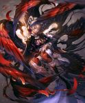 2girls artist_request blonde_hair capelet chest_tattoo choker cygames feathered_wings hair_over_eyes hair_over_one_eye hand_on_another's_chest holding_person looking_at_viewer mole multiple_girls multiple_wings official_art pointy_ears ponytail red_skin seraph shadowverse tattoo valnareik_omen_of_lust violet_eyes white_hair wings