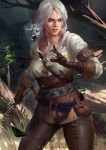 1girl arm_strap belt bra ciri corset facing_viewer forest gloves green_eyes leather leather_pants lips looking_to_the_side nature outdoors pants parted_lips scar shirt short_hair silver_hair solo sword teeth the_witcher the_witcher_3 tight tight_pants underwear weapon white_belt wind zumi_(zumidraws)