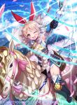 1girl armor armpits black_gloves blonde_hair boots bow braid breastplate cape clouds cloudy_sky emma_(fire_emblem) fire_emblem fire_emblem_cipher flying full_body garter_straps gloves hair_bow kousei_horiguchi long_hair looking_at_viewer magic nintendo official_art one_eye_closed open_mouth pegasus pegasus_knight riding rod sky smile solo thigh-highs thigh_boots twin_braids watermark yellow_eyes