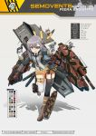 1girl ahoge bangs belt black_legwear blue_eyes boots coffin combat_knife commentary english_commentary eyepatch gloves ground_vehicle gun handgun highres holding holding_gun holding_weapon jacket knife long_hair machinery mecha_musume military military_vehicle mismatched_legwear motor_vehicle necktie panzer_waltz personification purple_hair revolver rigging semoverte_105/25 shell_casing single_garter_strap solo_focus tank thigh-highs thigh_strap weapon white_gloves white_legwear xandier59