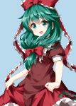 1girl :d bangs blue_background blush bow commentary_request cowboy_shot dress eyebrows_visible_through_hair frilled_ribbon frilled_shirt_collar frills green_eyes green_hair hair_between_eyes hair_ribbon head_tilt highres kagiyama_hina long_hair looking_at_viewer open_mouth petticoat puffy_short_sleeves puffy_sleeves red_bow red_dress ribbon ruu_(tksymkw) short_sleeves simple_background skirt_hold smile solo touhou