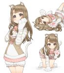 1girl :3 all_fours animal_ears animal_print applepie_(12711019) bangs bell bloomers blunt_bangs blush bow breasts brown_eyes brown_hair cat_ears cat_paws character_sheet cleavage closed_mouth highres idolmaster idolmaster_million_live! idolmaster_million_live!_theater_days jingle_bell long_hair looking_at_viewer lying miyao_miya multiple_views on_back paw_pose paws pink_bow smile tail tiger_print tiger_tail underwear
