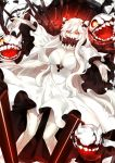 1girl bangs bare_legs breasts cleavage commentary_request covered_mouth dress fingernails horns kantai_collection kumashige large_breasts long_hair long_sleeves looking_at_viewer midway_hime outstretched_arms red_eyes shinkaisei-kan sidelocks solo very_long_hair white_dress white_hair white_skin wide_sleeves