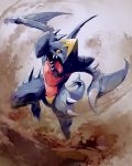 creatures_(company) dragon game_freak garchomp gen_4_pokemon mk_(mikka) nintendo pokemon pokemon_(creature) pokemon_(game) pokemon_dppt sand spikes yellow_eyes