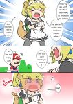 ... 1boy 1girl apron blonde_hair blush blush_stickers bowsette bracelet brown_hair collar comic crown dress earrings english engrish eyebrows_visible_through_hair faceless facial_hair hat horns jewelry maid maid_apron maid_dress maid_headdress mario mario_(series) mustache new_super_mario_bros._u_deluxe nintendo pantyhose ponytail puffy_sleeves ranguage red_shirt sesield sharp_teeth shirt spiked_tail super_crown sweatdrop teeth thai turtle_shell