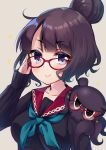1girl :3 adjusting_eyewear bespectacled black_shirt blue_neckwear blush breasts brown_background closed_mouth commentary_request fate/grand_order fate_(series) glasses hair_bun hand_up highres katsushika_hokusai_(fate/grand_order) ko_yu long_sleeves looking_at_viewer medium_breasts neckerchief purple_hair red-framed_eyewear red_sailor_collar sailor_collar school_uniform serafuku shirt simple_background sleeves_past_wrists sparkle tokitarou_(fate/grand_order) upper_body violet_eyes