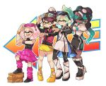 +_+ 4girls :o adjusting_eyewear adjusting_goggles alternate_hairstyle aori_(splatoon) arm_up back_to_the_future black_dress black_footwear black_hair black_jacket black_legwear black_shirt black_skin boots brown_eyes closed_eyes closed_mouth coat commentary cousins directional_arrow dress earrings english_commentary eyewear_on_head fangs foot_up goggles goggles_on_head gradient_hair green_hair grin heel_up high_heel_boots high_heels hime_(splatoon) hoop_earrings hotaru_(splatoon) iida_(splatoon) jacket jewelry layered_skirt letterman_jacket long_hair long_sleeves looking_at_watch loose_socks medium_skirt mole mole_under_eye mole_under_mouth multicolored_hair multiple_girls nintendo octarian open_clothes open_coat open_mouth pantyhose pink_hair pink_legwear pink_skirt pointy_ears ponytail purple_hair red_jacket shirt shoes short_dress short_hair skirt sleeveless sleeveless_shirt smile splatoon standing standing_on_one_leg sunglasses watch watch white_background white_dress white_footwear white_jacket wong_ying_chee yellow_footwear