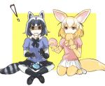 ! 2girls animal_ears bangs black_footwear black_gloves black_legwear black_skirt blue_shirt bodystocking bow bowtie brown_eyes commentary common_raccoon_(kemono_friends) eating extra_ears fennec_(kemono_friends) fork fox_ears fox_tail frown fur_collar gloves grey_hair hairband holding holding_fork indian_style japari_symbol kemono_friends loafers looking_at_viewer medium_hair miniskirt multicolored_hair multiple_girls open_mouth outside_border pink_sweater pleated_skirt puffy_short_sleeves puffy_sleeves raccoon_ears raccoon_tail seiza shadow sharing_food shirt shoes short_sleeves silver_hair sitting skirt socks striped_tail sweater tail tearing_up wavy_mouth white_footwear white_skirt yellow_background yellow_gloves yellow_hairband yellow_neckwear yuuyu_(777)