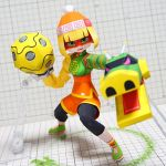 1girl arms_(game) bangs beanie black_legwear blonde_hair chinese_clothes domino_mask dragon full_body green_eyes green_footwear hat leggings legwear_under_shorts looking_at_viewer mask min_min_(arms) muumin_(muumin_craft) open_mouth orange_shorts papercraft photo shoes short_hair shorts solo