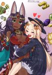 2girls :d abigail_williams_(fate/grand_order) absurdres animal_ear_fluff animal_ears bangs bare_shoulders black_bow black_dress black_gloves black_hat blonde_hair bloomers blush bow breasts bug butterfly cleavage closed_eyes commentary_request dark_skin dress elbow_gloves fate/grand_order fate_(series) flying_sweatdrops food fruit gloves gold_bar gradient gradient_background green_eyes hair_bow hat headpiece heart highres hug insect large_breasts long_hair long_sleeves multiple_girls nomeazog open_mouth orange orange_bow parted_bangs partly_fingerless_gloves polka_dot polka_dot_bow purple_background purple_hair queen_of_sheba_(fate/grand_order) red_dress round_teeth sitting sitting_on_lap sitting_on_person sleeveless sleeveless_dress sleeves_past_fingers sleeves_past_wrists smile teeth twitter_username underwear upper_teeth very_long_hair white_background white_bloomers